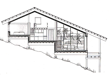 Holzskelettbauweise grundriss  Lothar Götz, 79837 Ibach/ Schwarzwald, Wohnhausgruppe, 1972 bis 1974